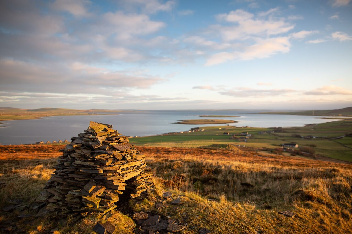 View over the Bay of Firth from Cuween Hill, Orkney