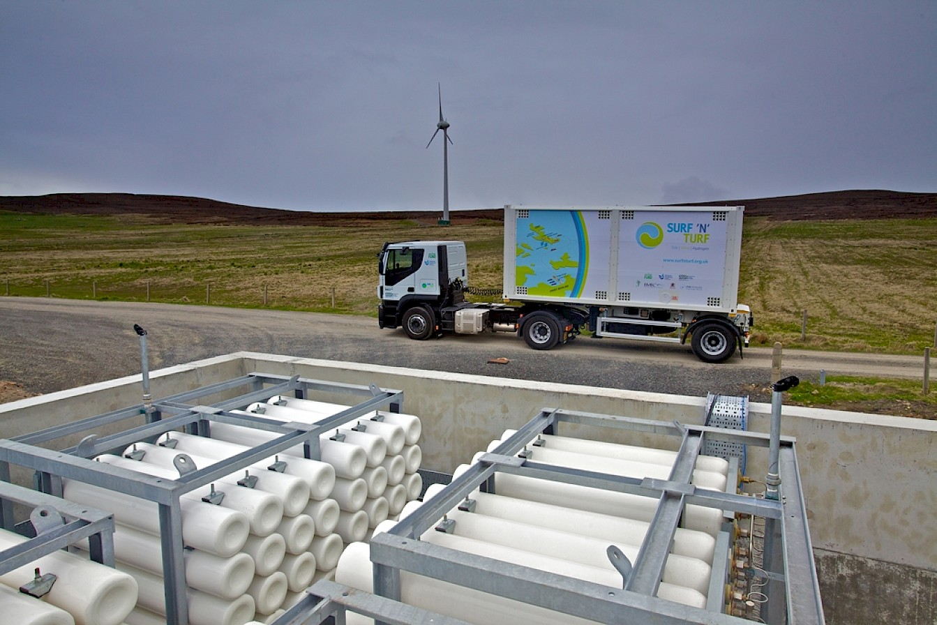 Hydrogen storage cylinders and mobile storage unit in Eday, Orkney - image by Colin Keldie