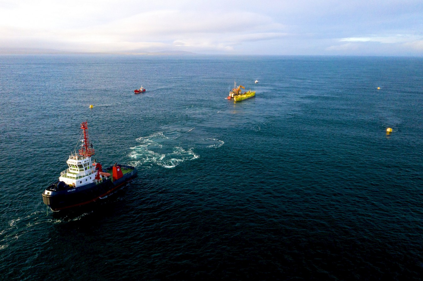 Installation of Magallanes Renovables tidal energy device in Orkney - image by Colin Keldie, courtesy Ocean 2g