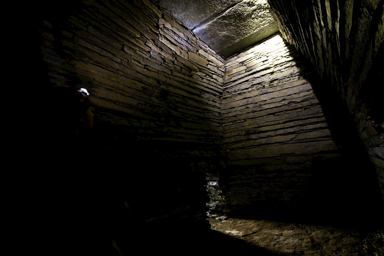 Inside Cuween Chambered Cairn, Firth