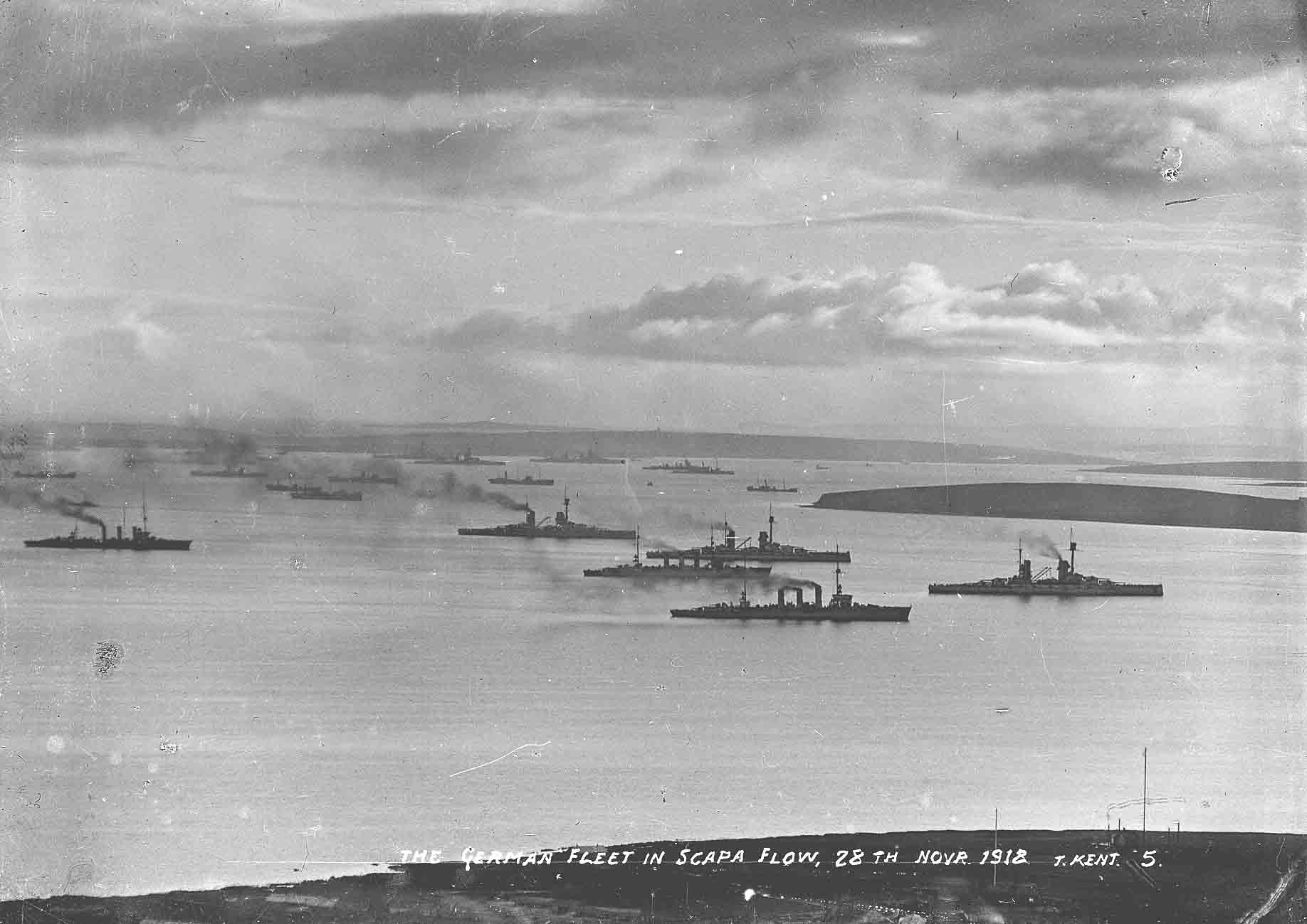 The German Fleet in Scapa Flow, November 1918 - image courtesy Orkney Library & Archive