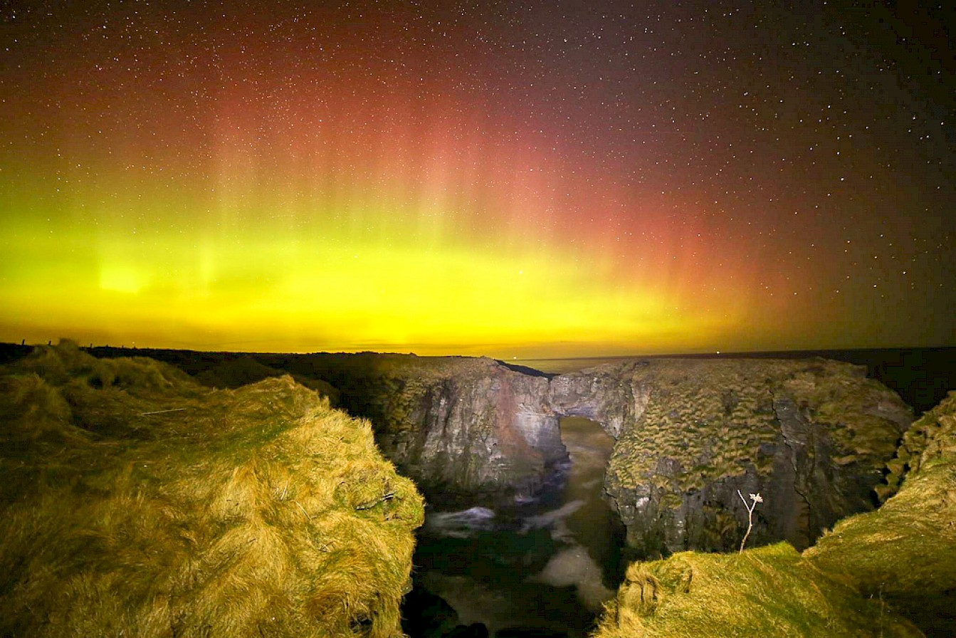 Aurora over the Vat of Kirbister, Stronsay - image by Iain Johnston