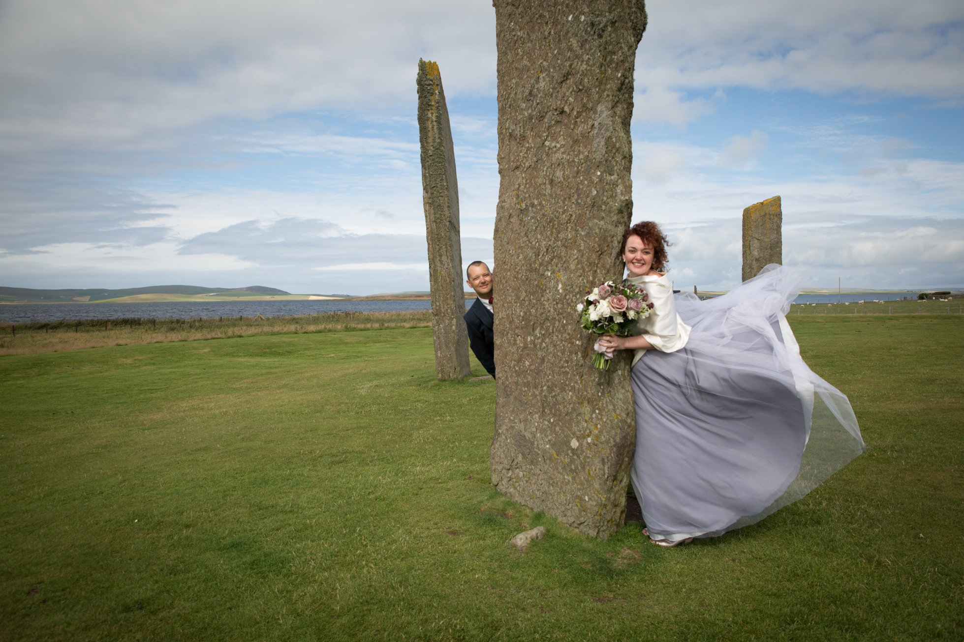 Brian and his wife Krisztina after their marriage ceremony at the Standing Stones of Stenness in Orkney