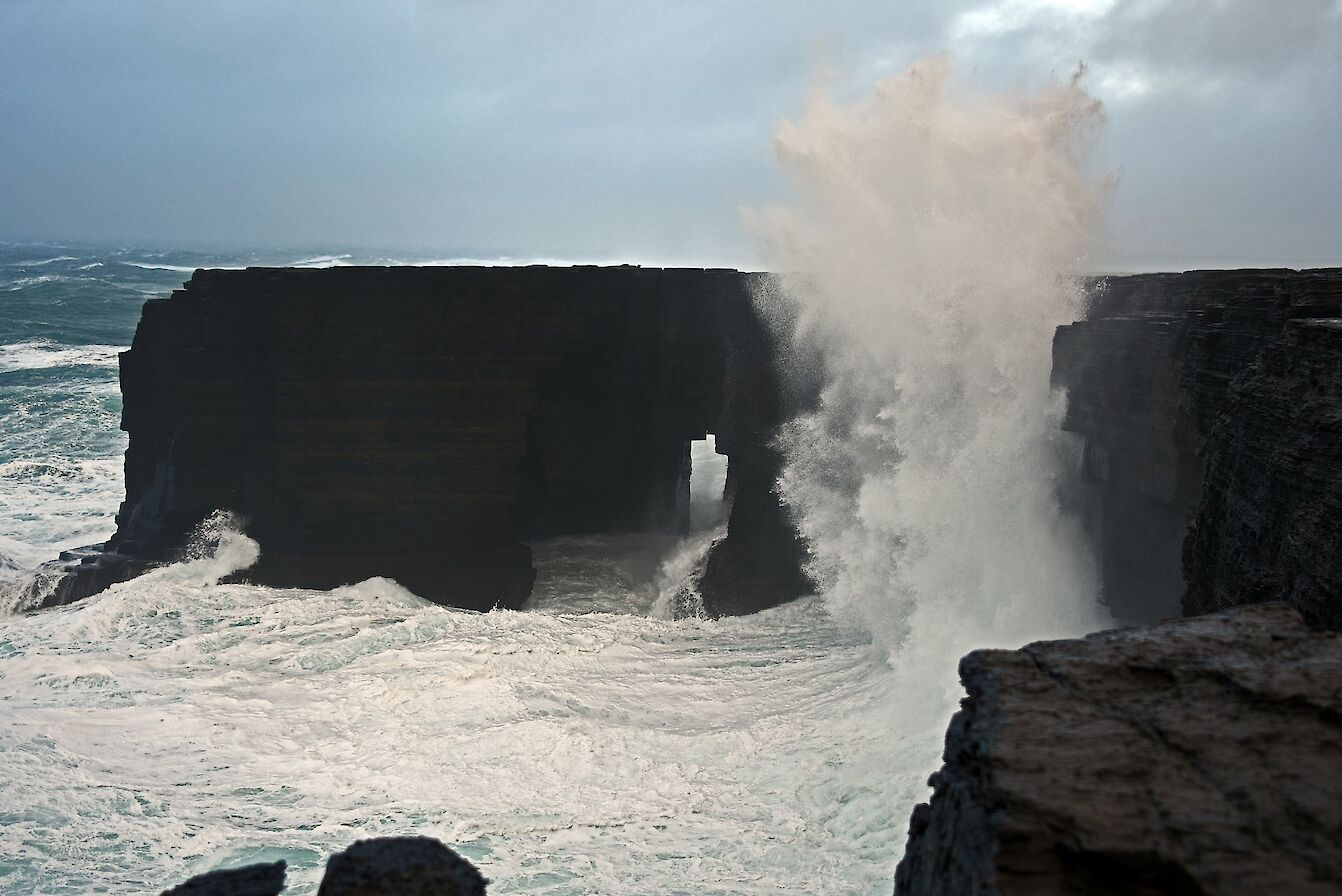 Waves breaking over cliffs in Westray - image by Carol Leslie