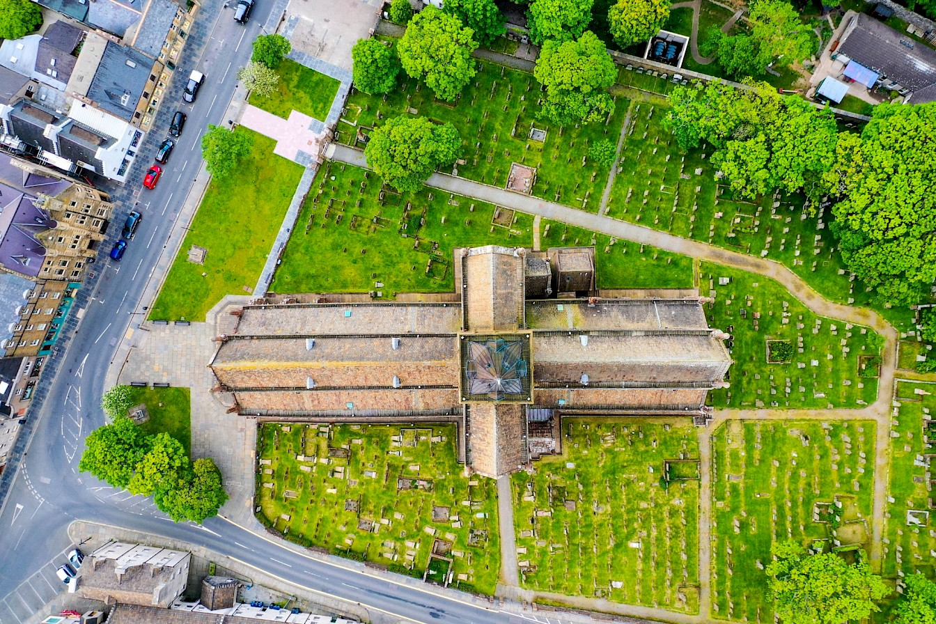 Aerial view of St Magnus Cathedral, Orkney - image by Nick McCaffrey