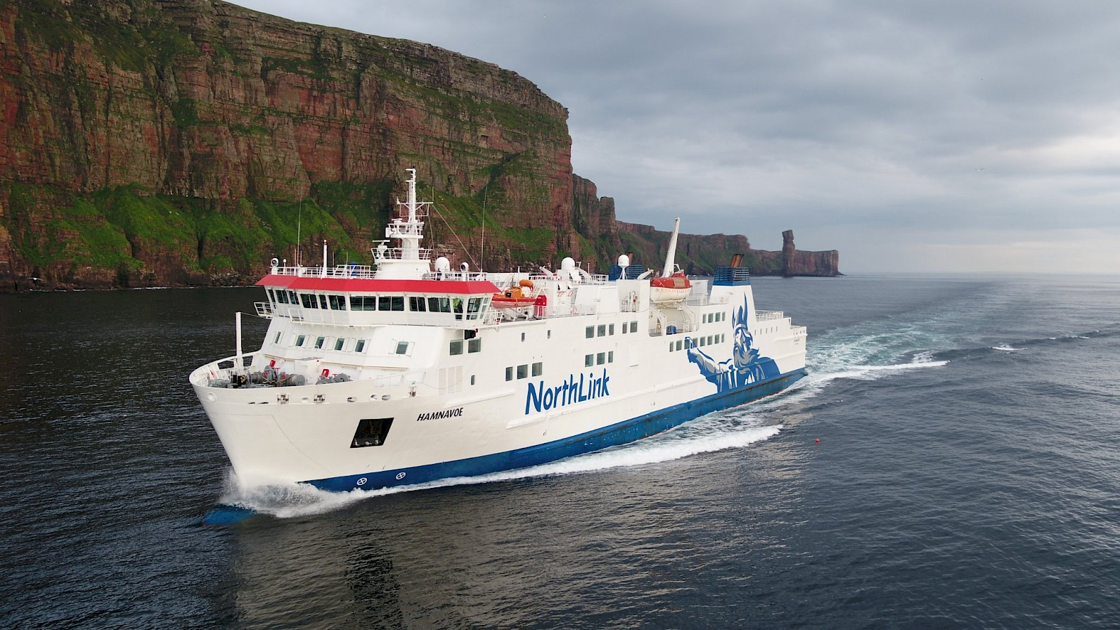 NorthLink Ferries vessel 'Hamnavoe' sailing past the cliffs of Hoy, Orkney - image by Nick McCaffrey