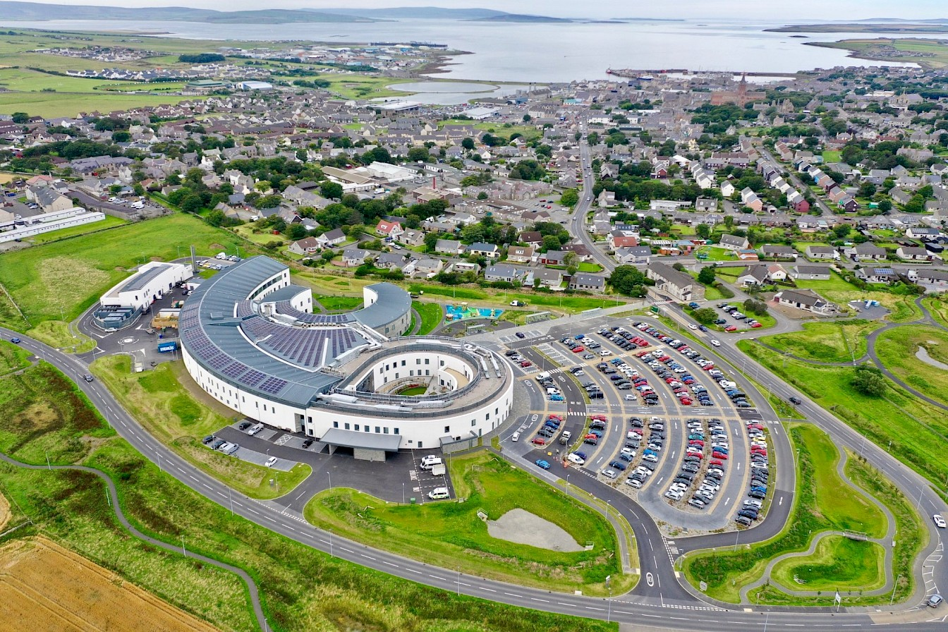Aerial view of the new Balfour Hospital in Kirkwall - image by Colin Keldie