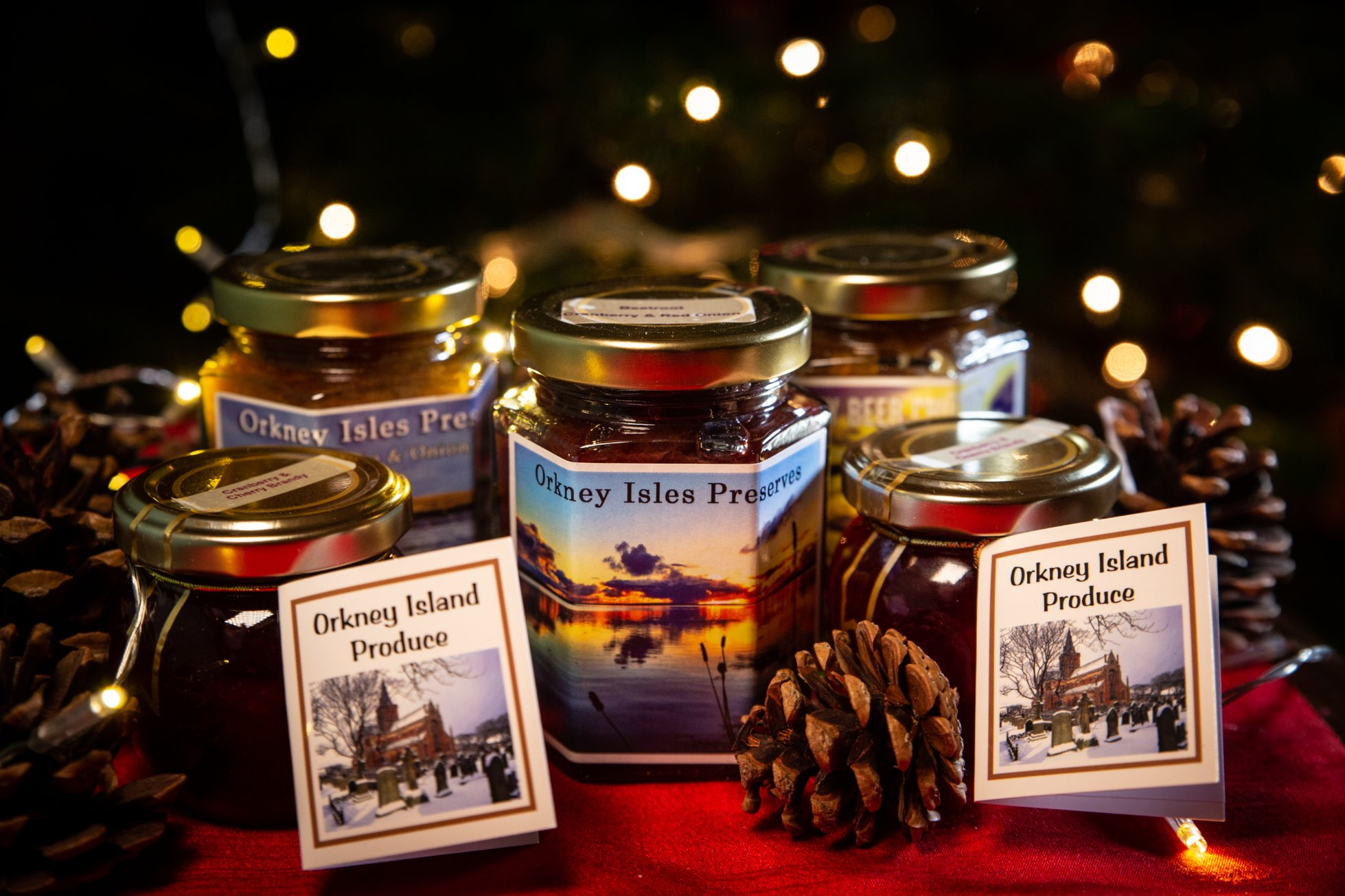 Selection of seasonal jams and chutneys from Orkney Isles Preserves