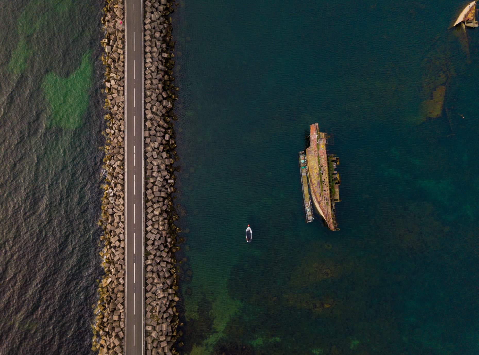 Aerial view of the 3rd Churchill Barrier, Orkney - image by Akmal Hakim