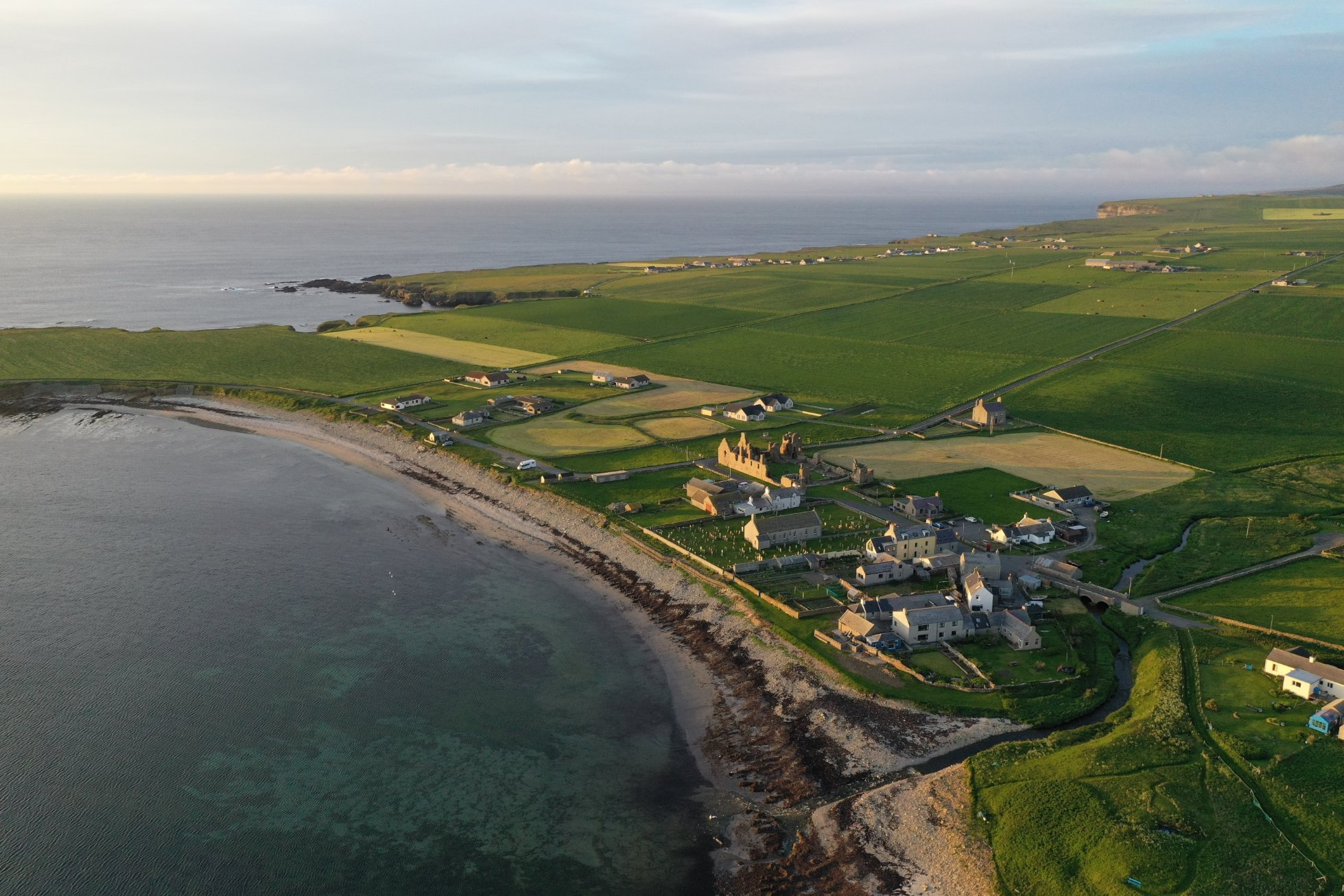 Aerial view of Birsay village and the Earl's Palace, Orkney - image by Colin Keldie