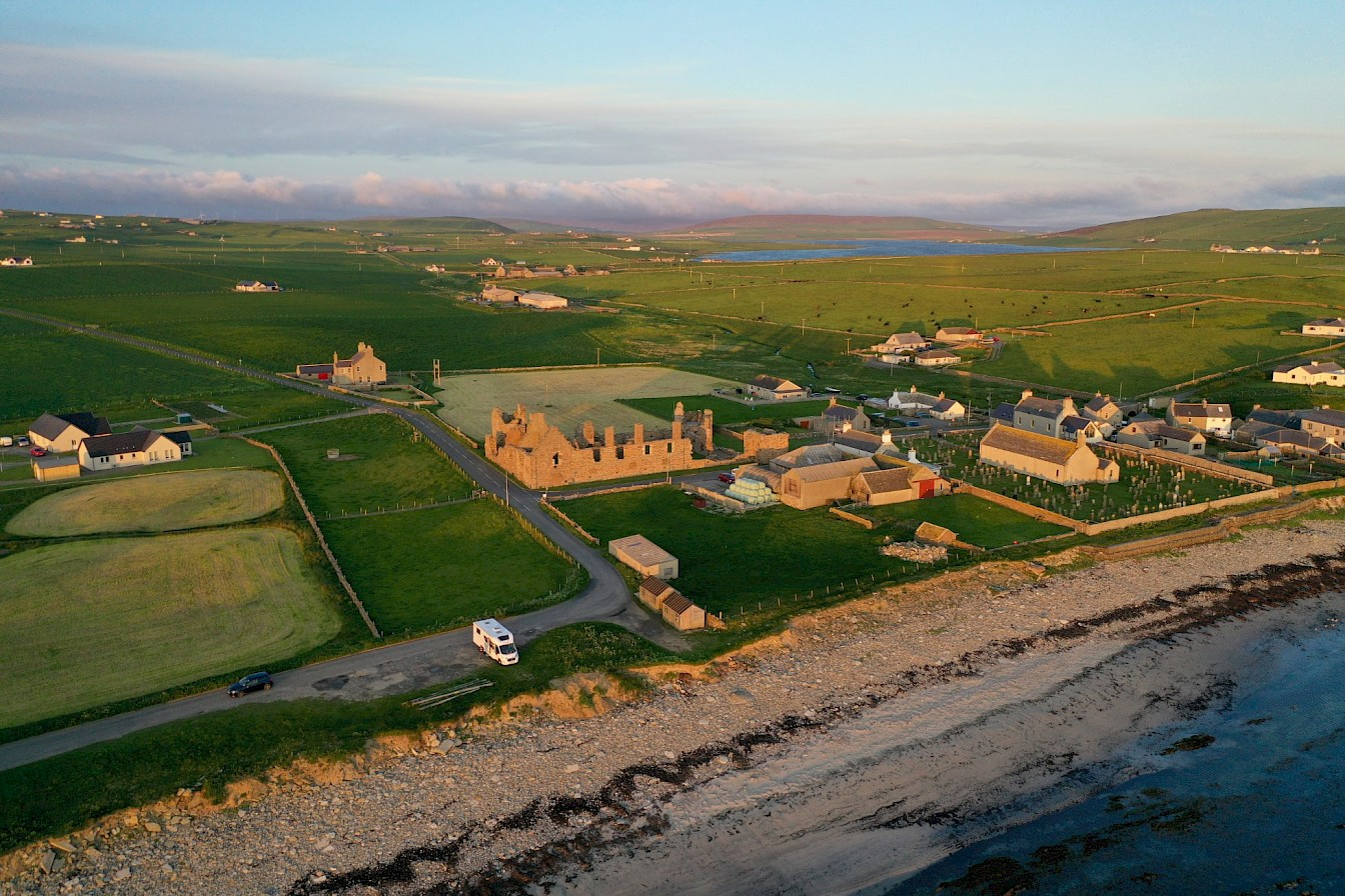 Aerial view of the Earl's Palace, Birsay - image by Colin Keldie