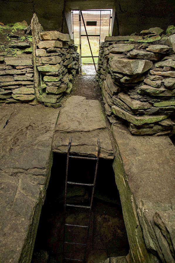 Inside the Taversoe Tuick, Orkney