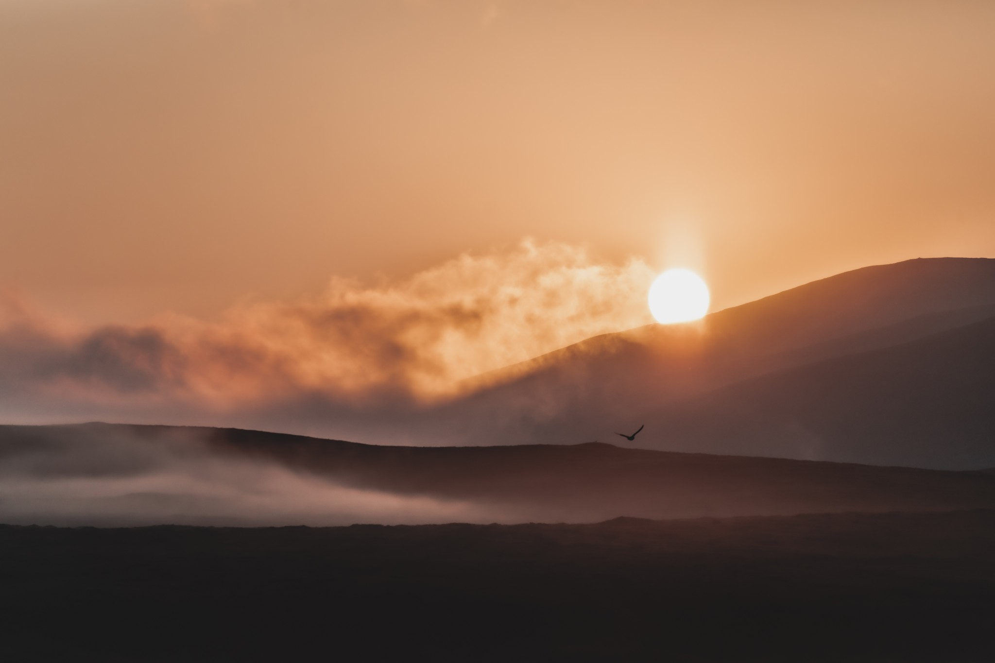 Sunrise over the Hoy hills, Orkney - image by Ally Velzian