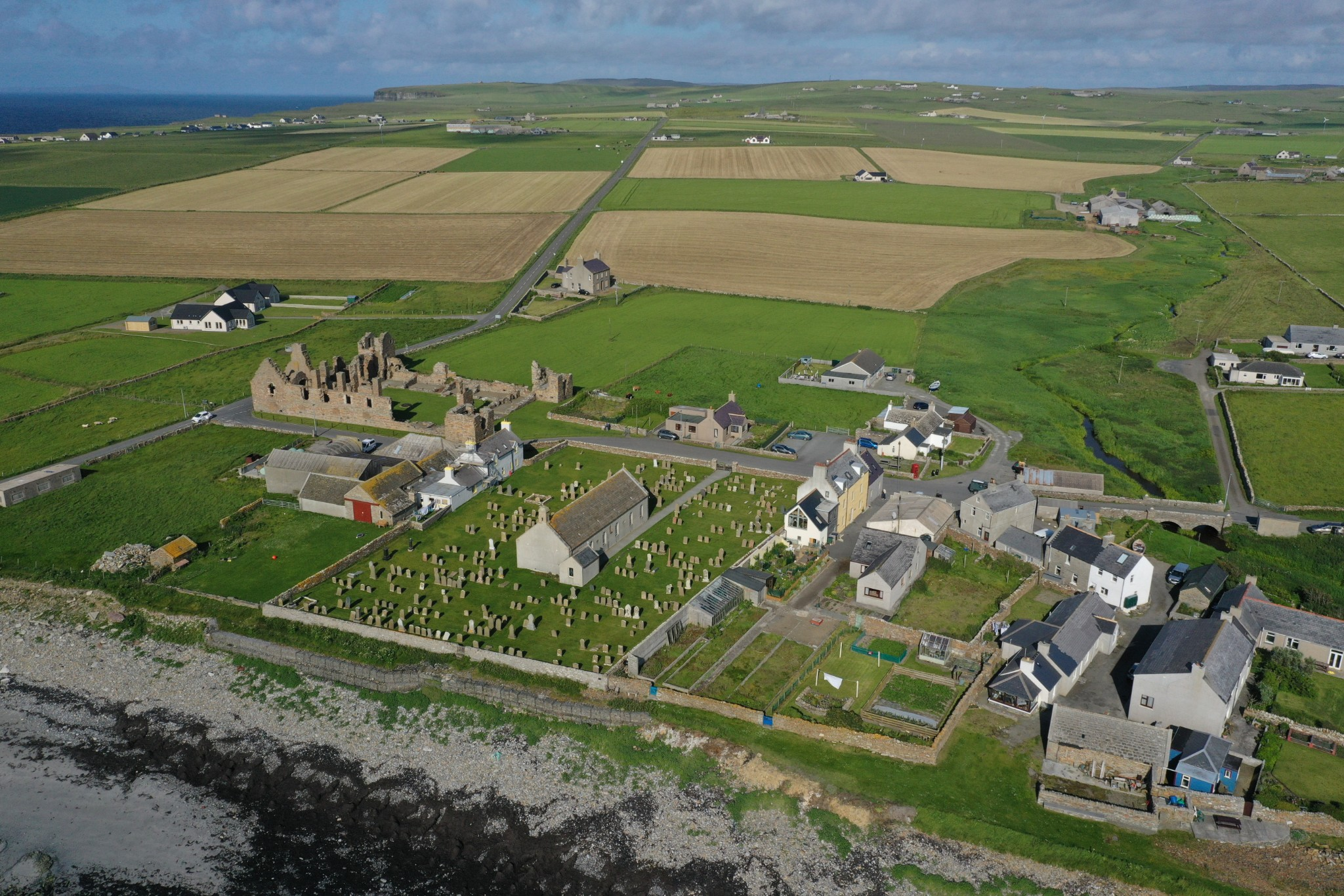 Aerial view of Palace village and the Earl's Palace, Orkney - image by Colin Keldie