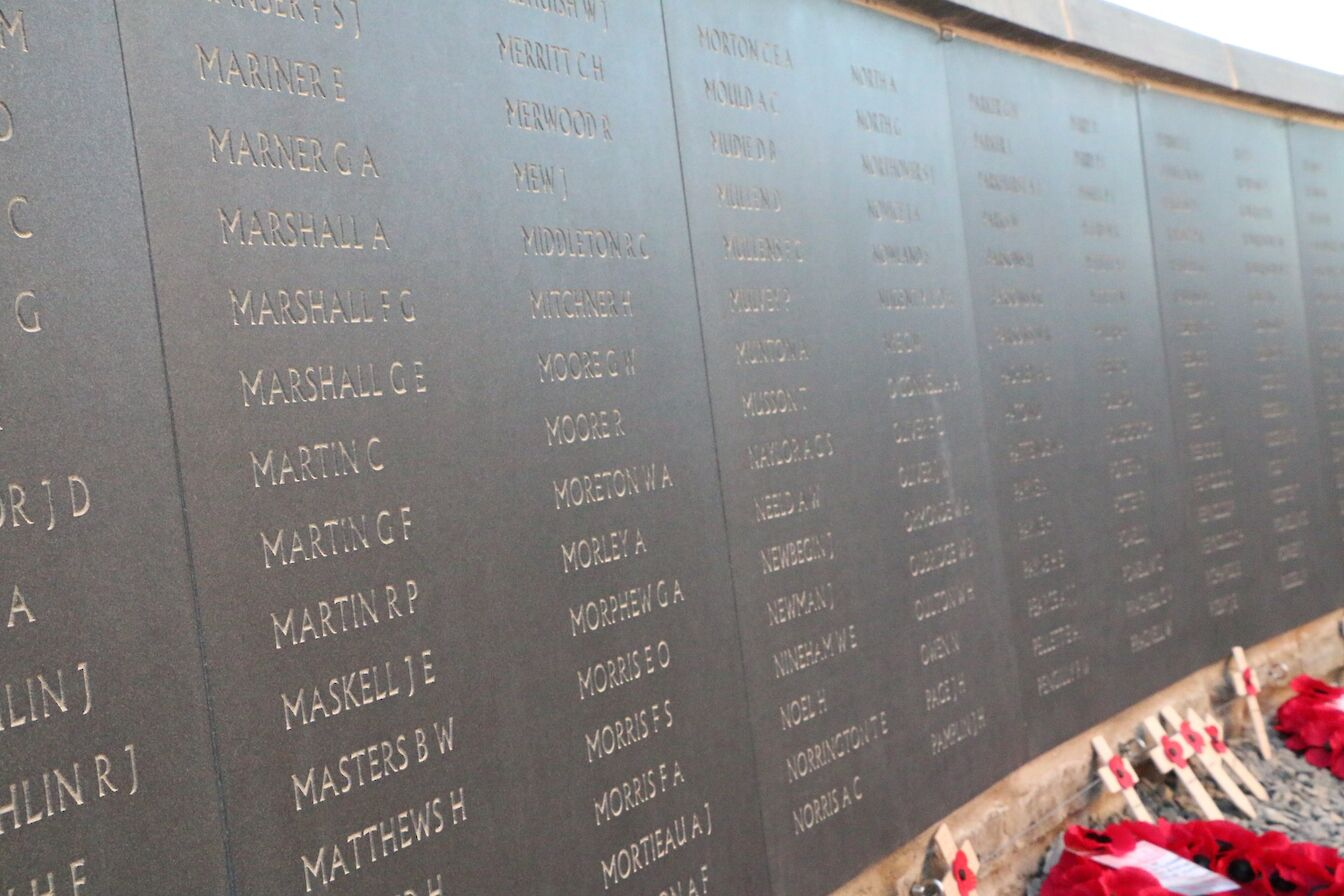 Part of the HMS Hampshire memorial wall