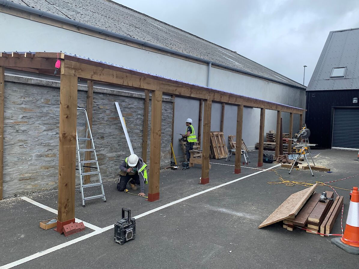 Joiners from Orkney Builders have been hard at work getting the venue built
