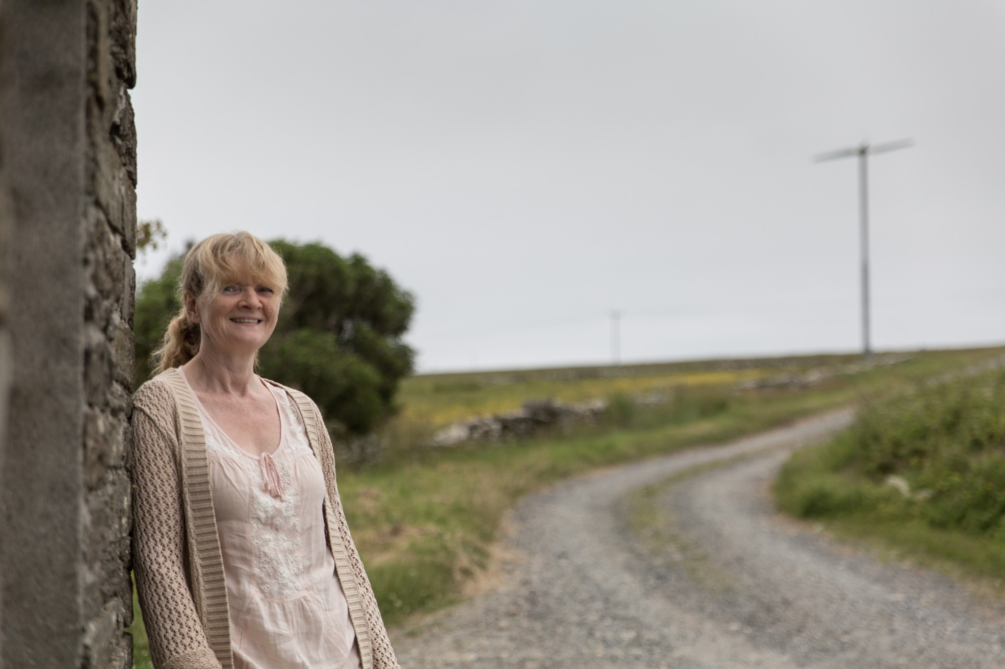 Glynis Leslie and her wind turbine in Shapinsay, Orkney
