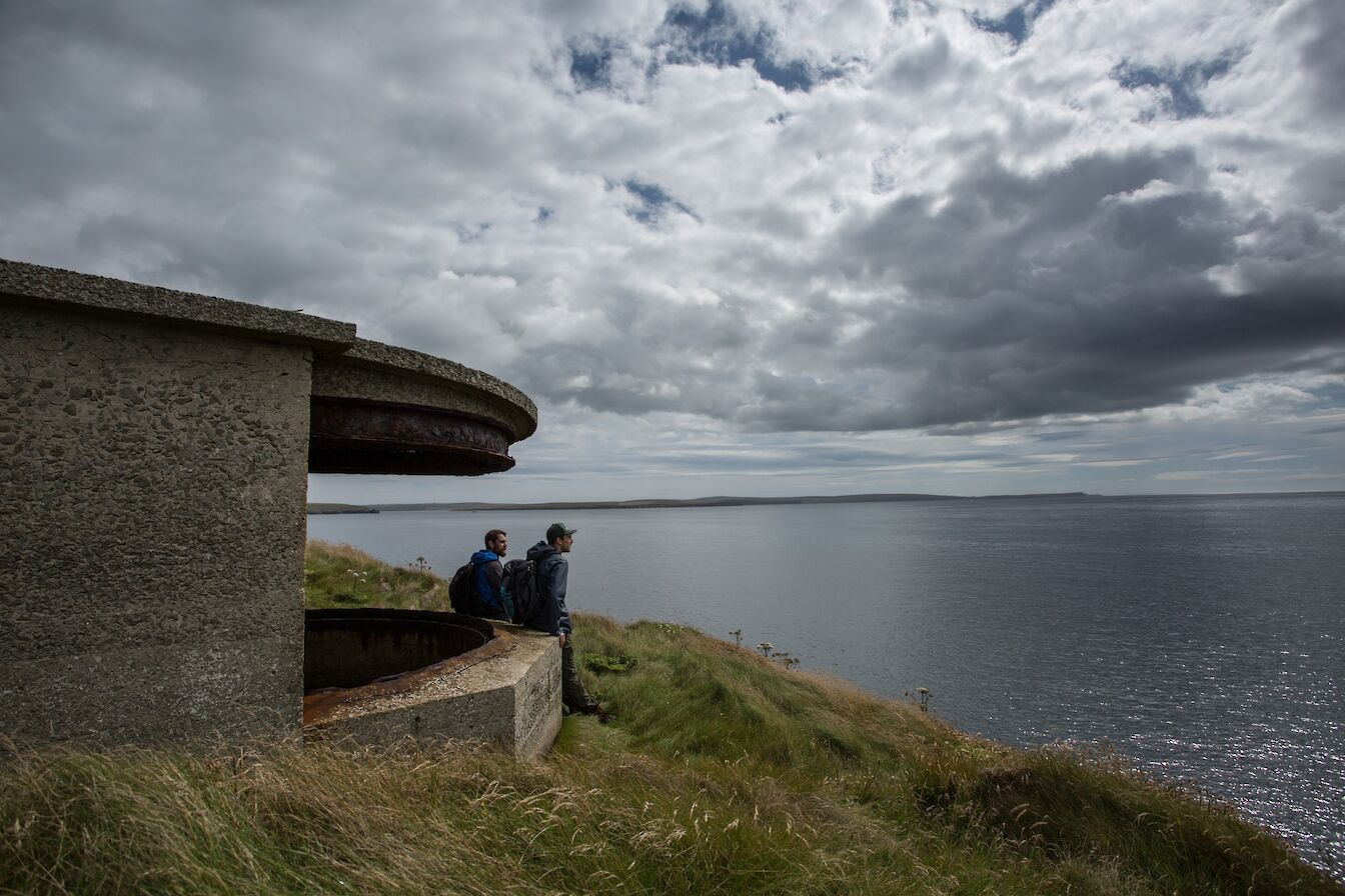 Looking out over Scapa Flow from a wartime building