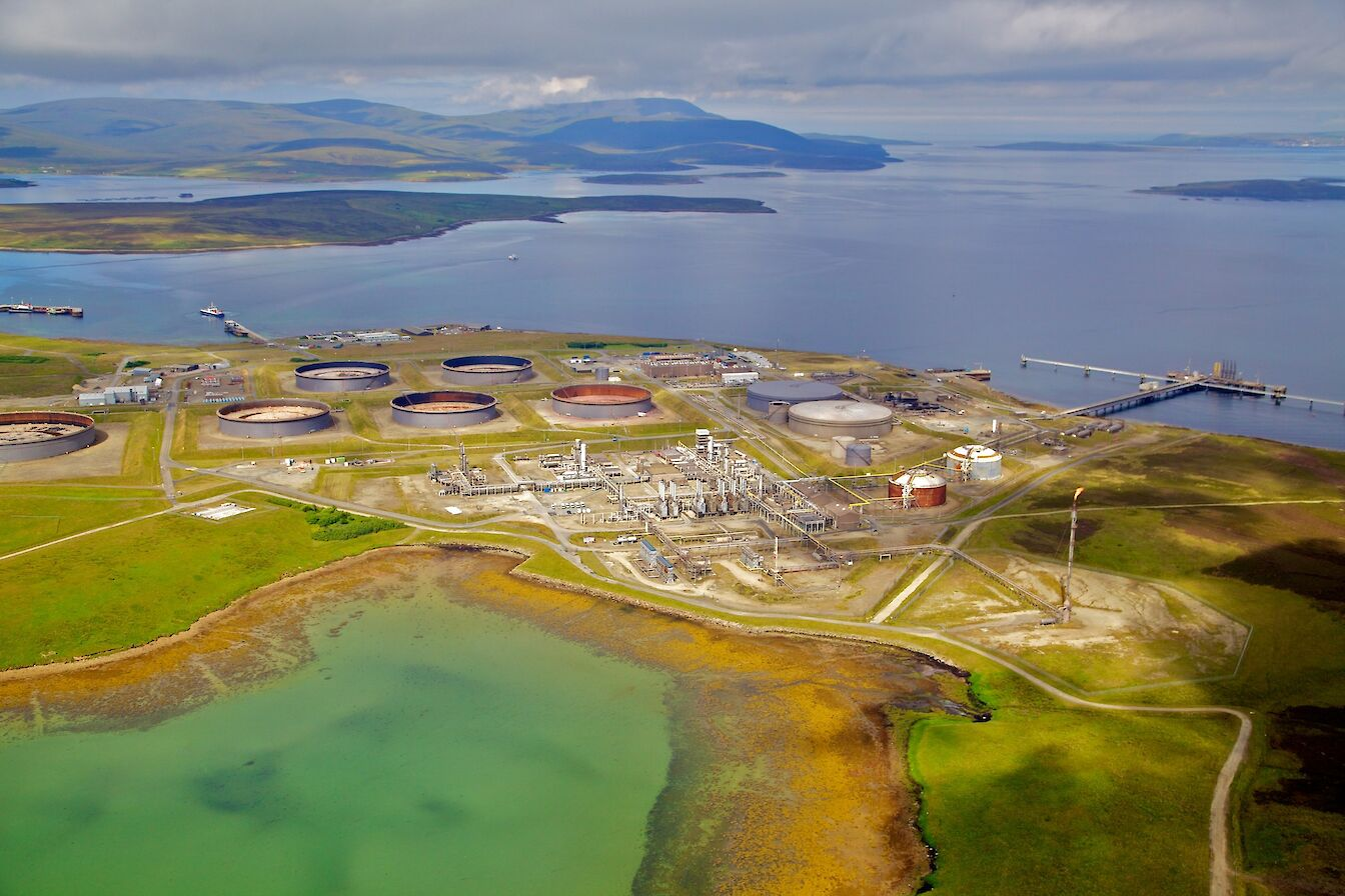 Aerial view of the Flotta Oil Terminal