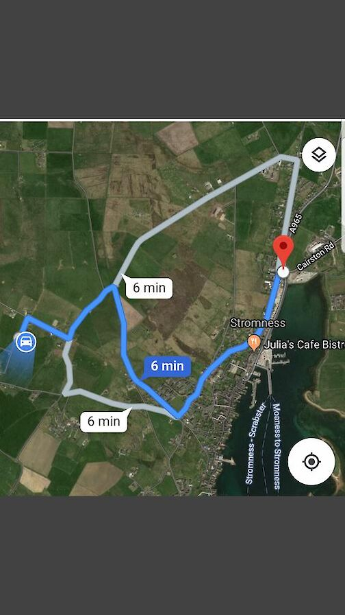Routes to Rysa House from Stromness roundabout.