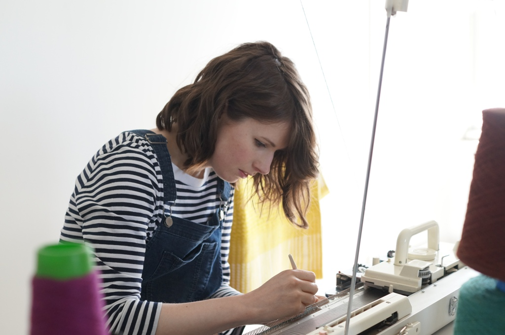 Hilary Grant at work in her studio in Orkney