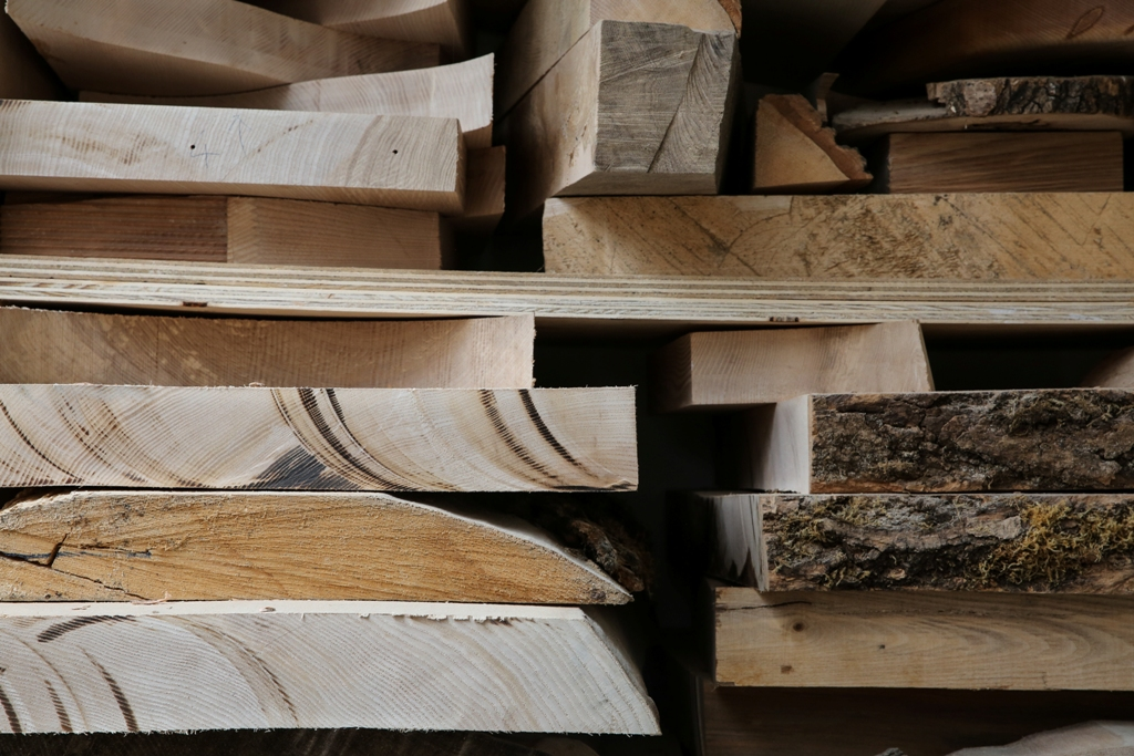 Some of the wood, sourced from sawmills from across Scotland