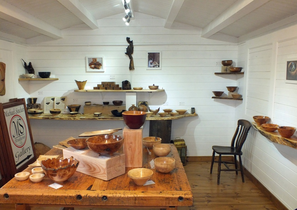 Inside the gallery at Michael Sinclair Woodturner