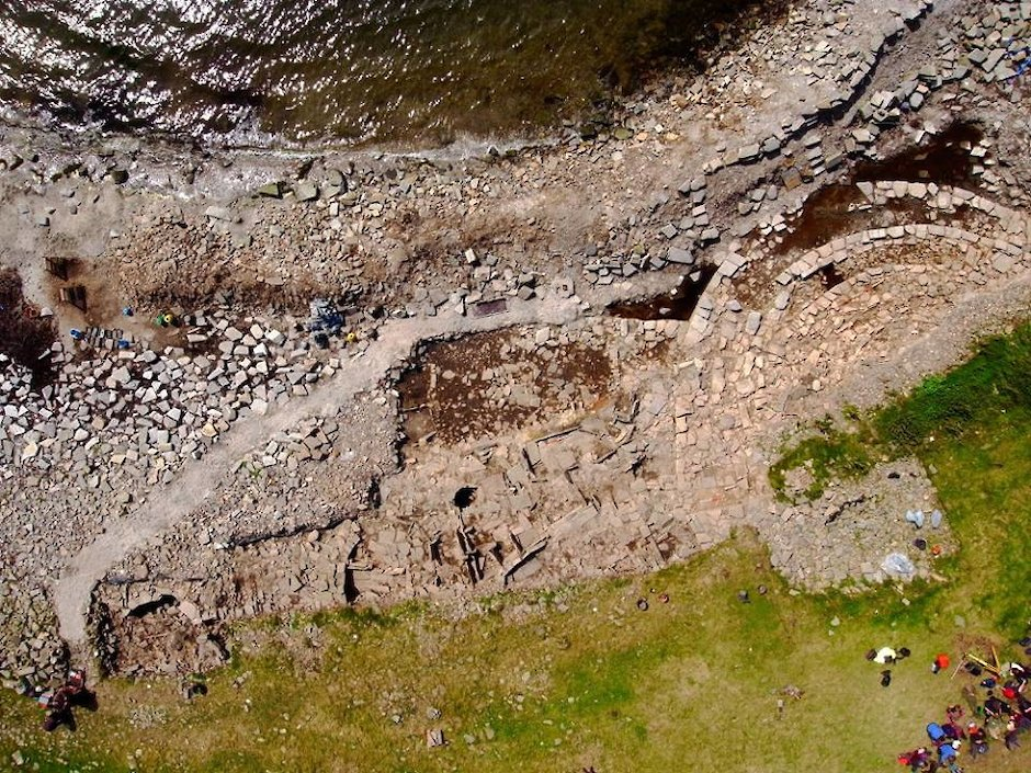 An aerial view of the site at Swandro in Rousay - image by Robert Friel