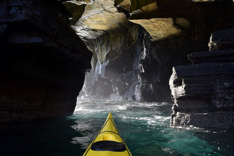 Beautiful sea caves at Yesnaby on Orkney's west coast - image by David Gange