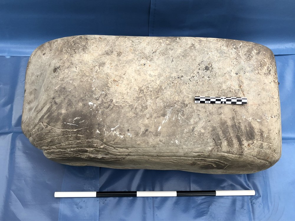 The anvil stone, complete with 1500-year-old handprint! Image courtesy of the Swandro-Orkney Coastal Archaeology Trust