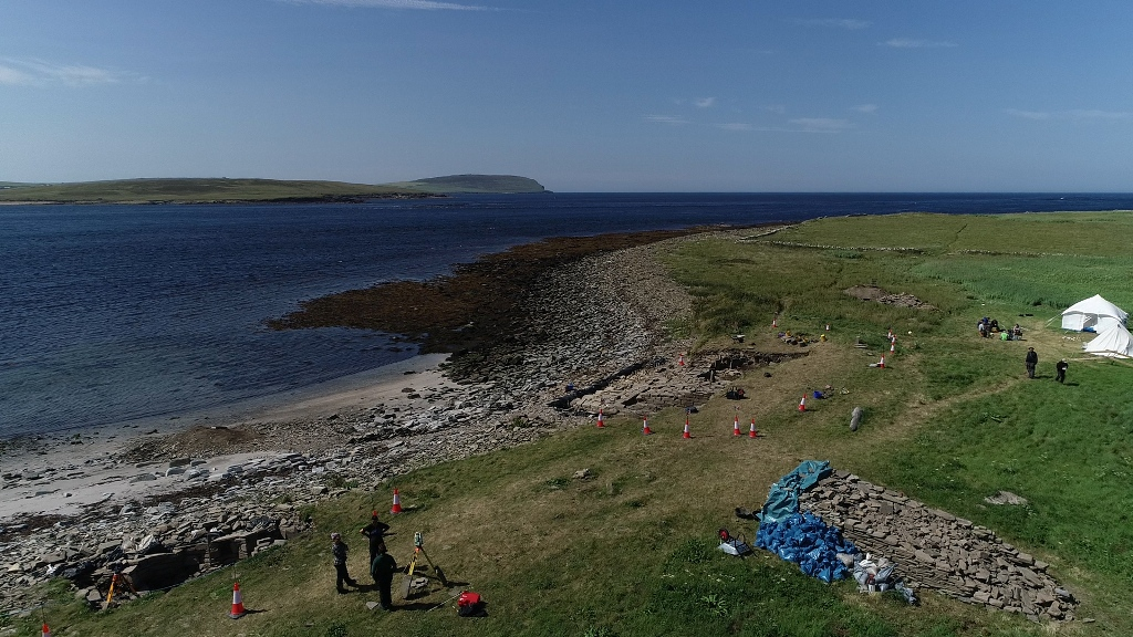 This aerial view of the project at Swandro shows just how close to the shore the excavation is