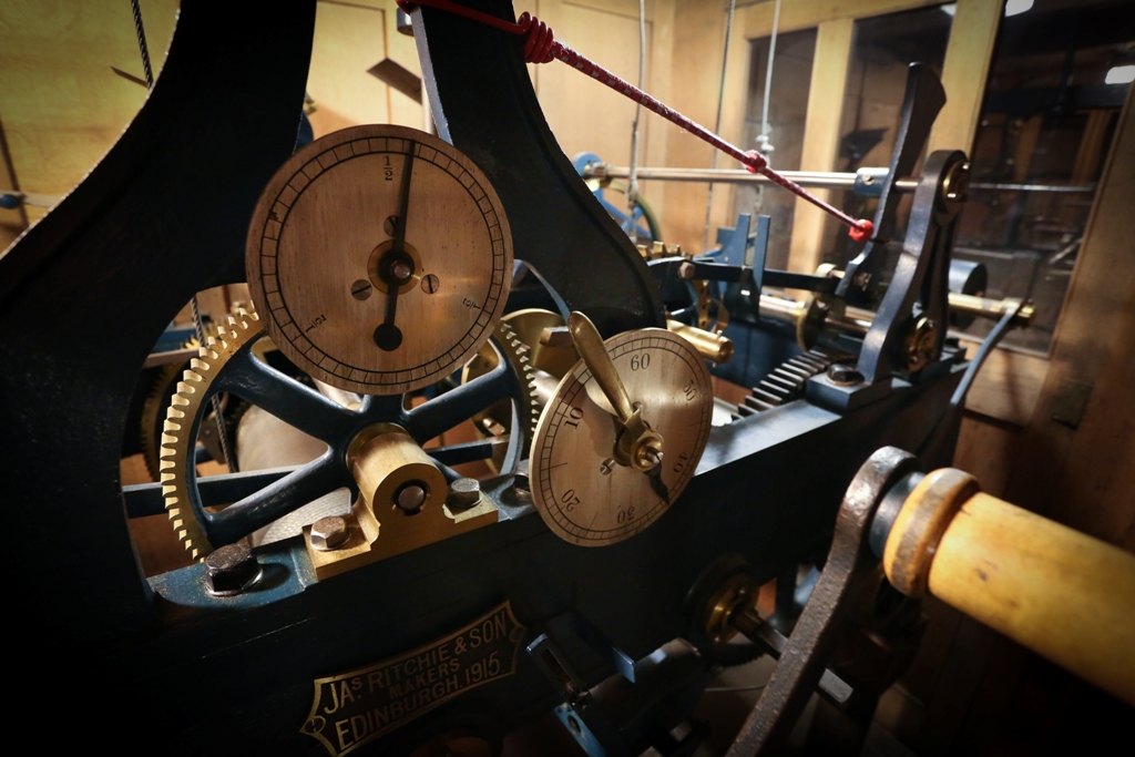 The beautiful clock mechanism, made by James Ritchie and Son in Edinburgh