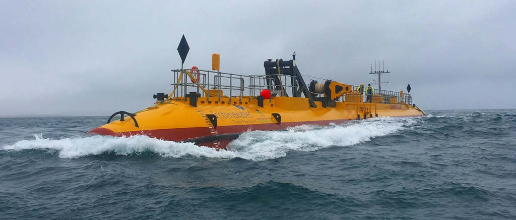 The SR2000 tidal power device being tested at EMEC's Fall of Warness site - image courtesy Orbital Marine