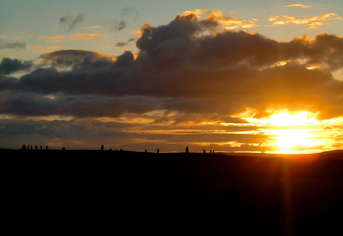 Sunset over the Ring of Brodgar - image by Sigurd Towrie