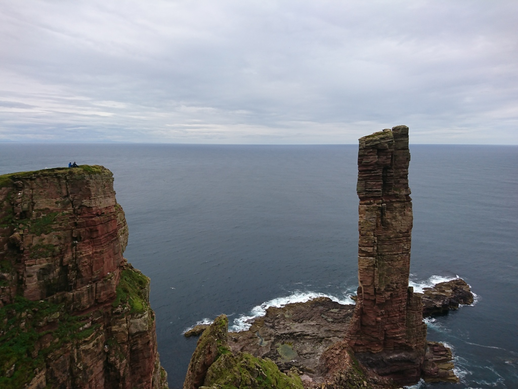 The pair studied the Old Man of Hoy before their climb to plan their route - image by Pete Colledge