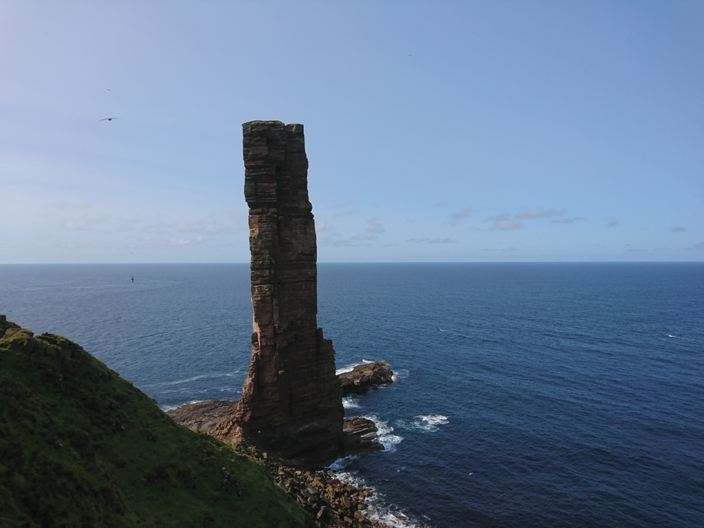 Heading down the cliff towards the base of the Old Man of Hoy