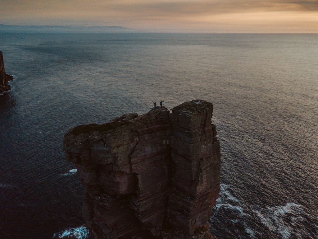 Mission accomplished - Pete and Alex on top of the Old Man of Hoy - image by Pete Colledge