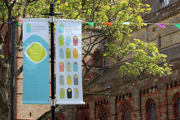 The St Magnus International Festival banners on Kirkwall's Broad Street