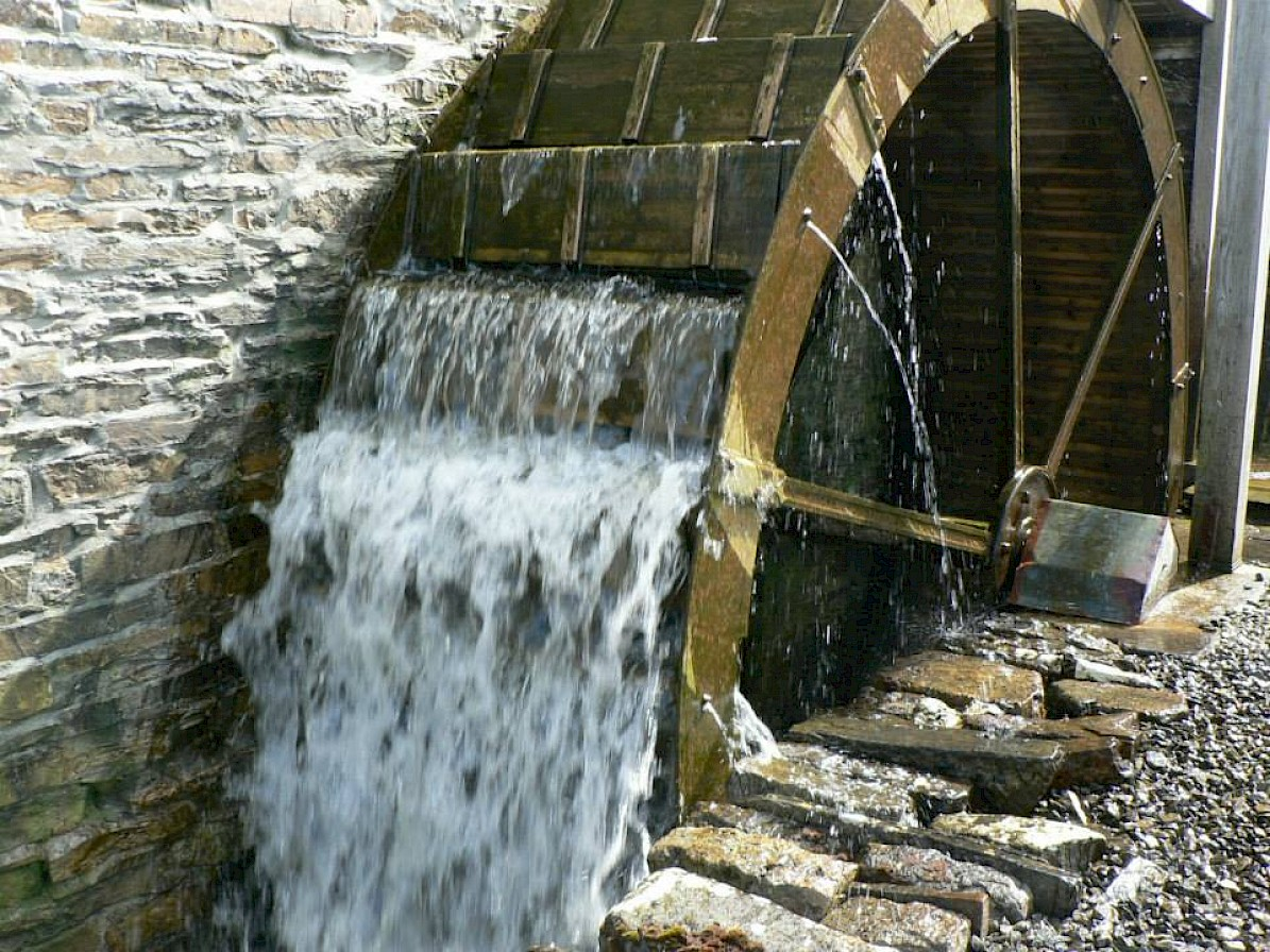 The water wheel at the Barony Mill