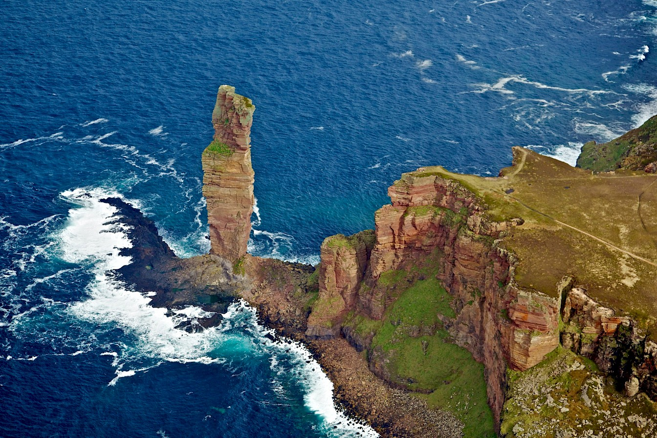 Aerial view of the Old Man of Hoy - image by Colin Keldie