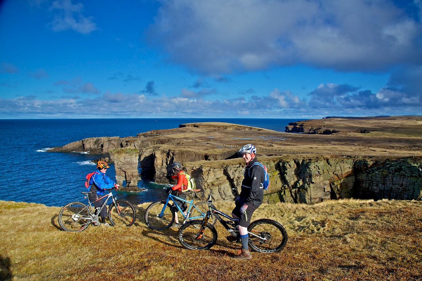 Orkney Cycling Club members at Yesnaby, Orkney