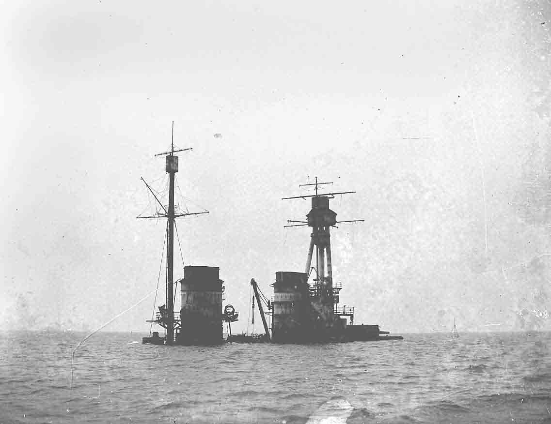 A German Navy vessel slipping beneath the waves in Scapa Flow in June 1919 - image courtesy of the Orkney Library and Archive