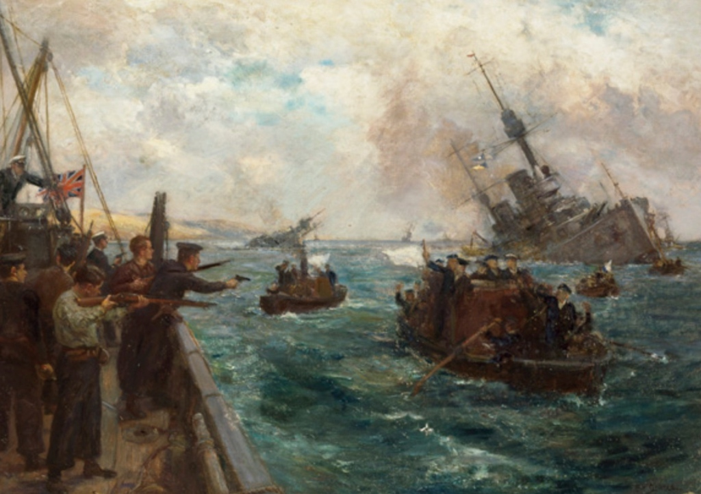 A painting of the events surrounding the scuttling by artists B.F. Gribble, who witnessed it