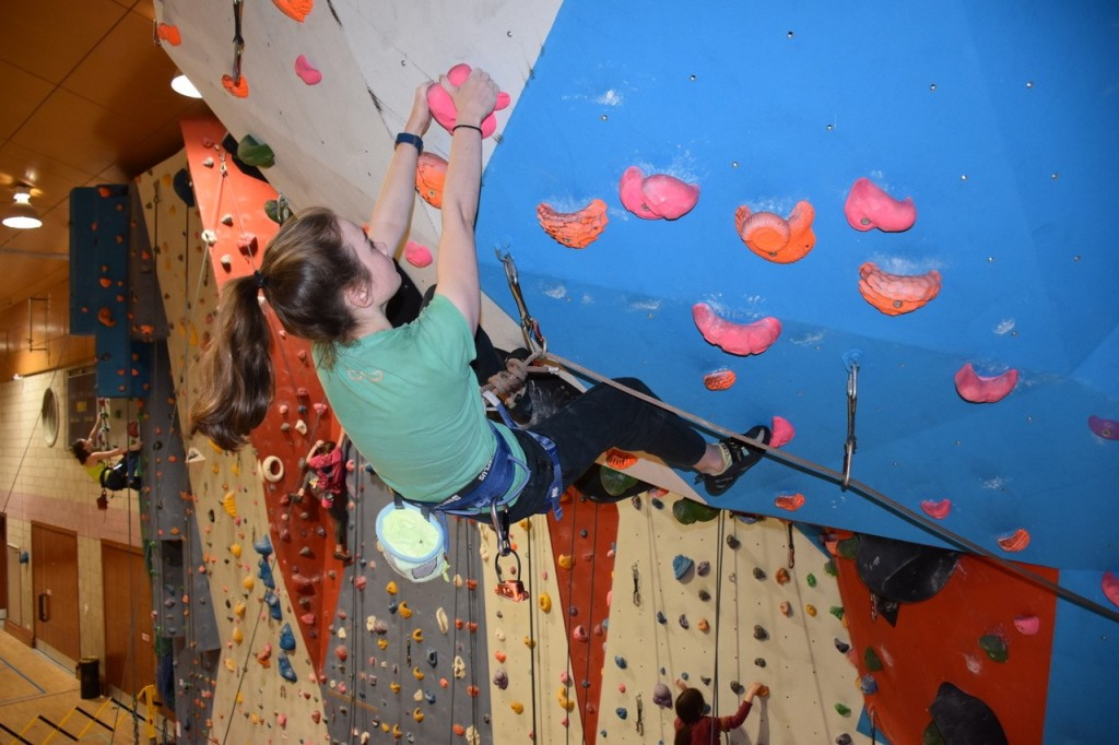 Climbing wall fun at the Pickaquoy Centre in Kirkwall