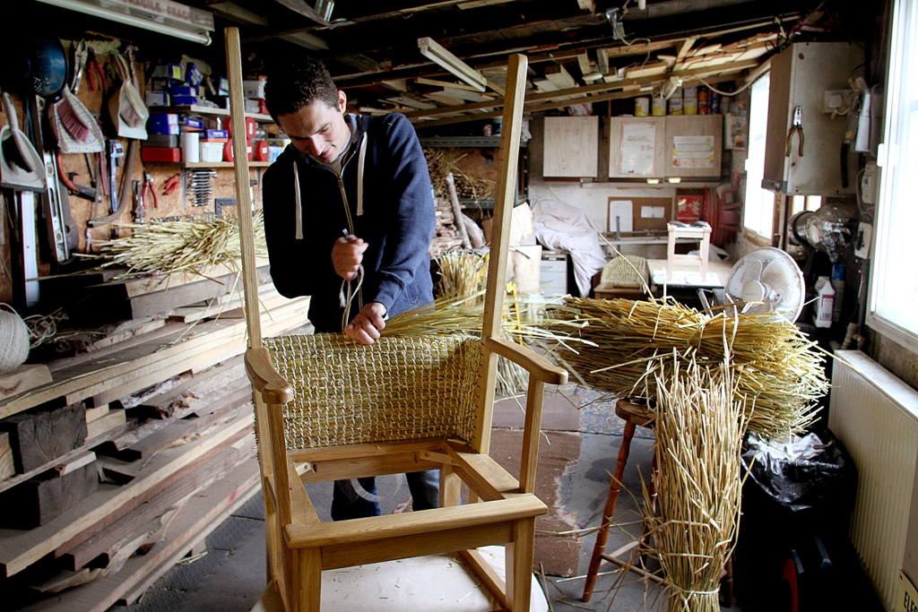 Orkney furniture maker Fraser Anderson at work