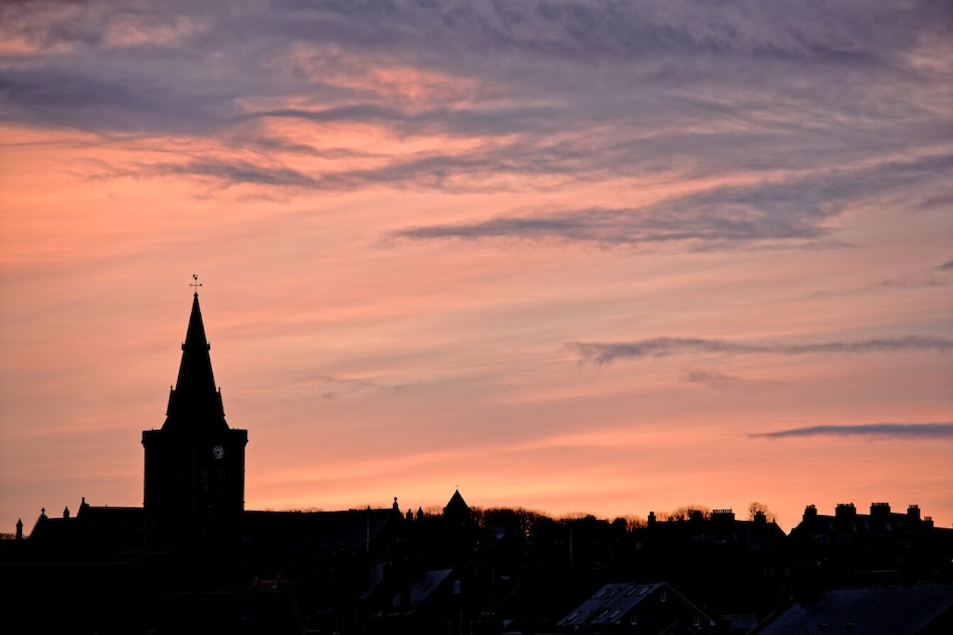 Sunrise over St Magnus Cathedral - image by James Grieve