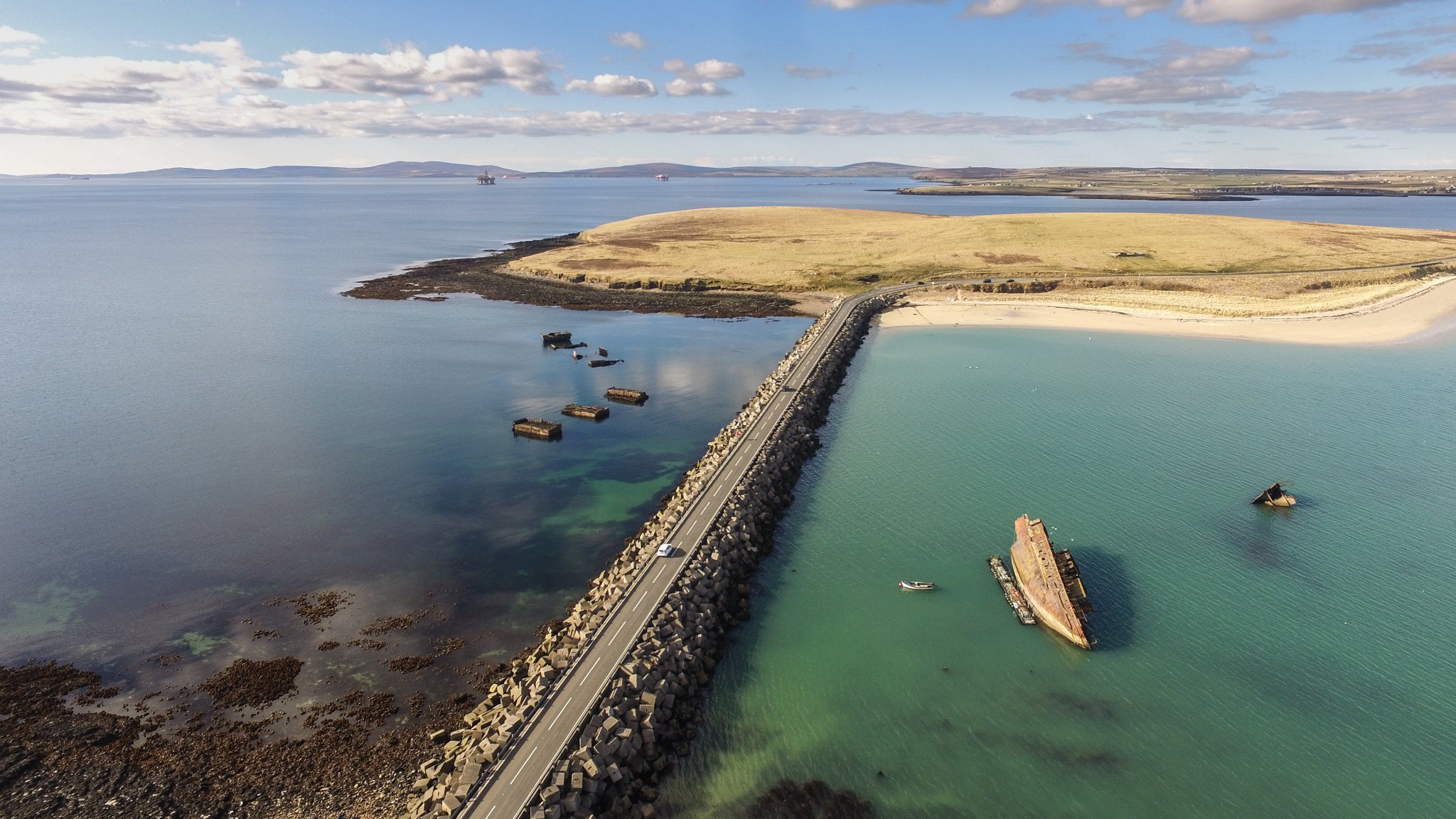 The Churchill Barriers, built during WWII, link five islands in Orkney