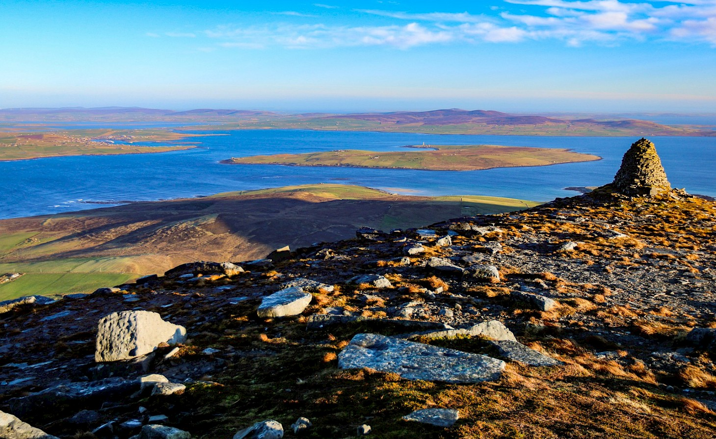 The view of the Orkney mainland from the top of the Cuilags, Hoy - image by Graham Campbell