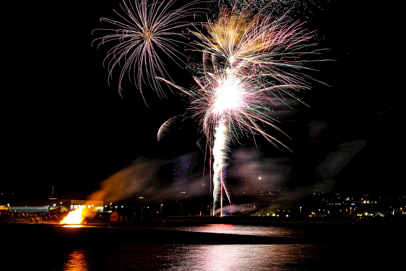 Fireworks over the Peedie Sea in Kirkwall - image by Graham Campbell