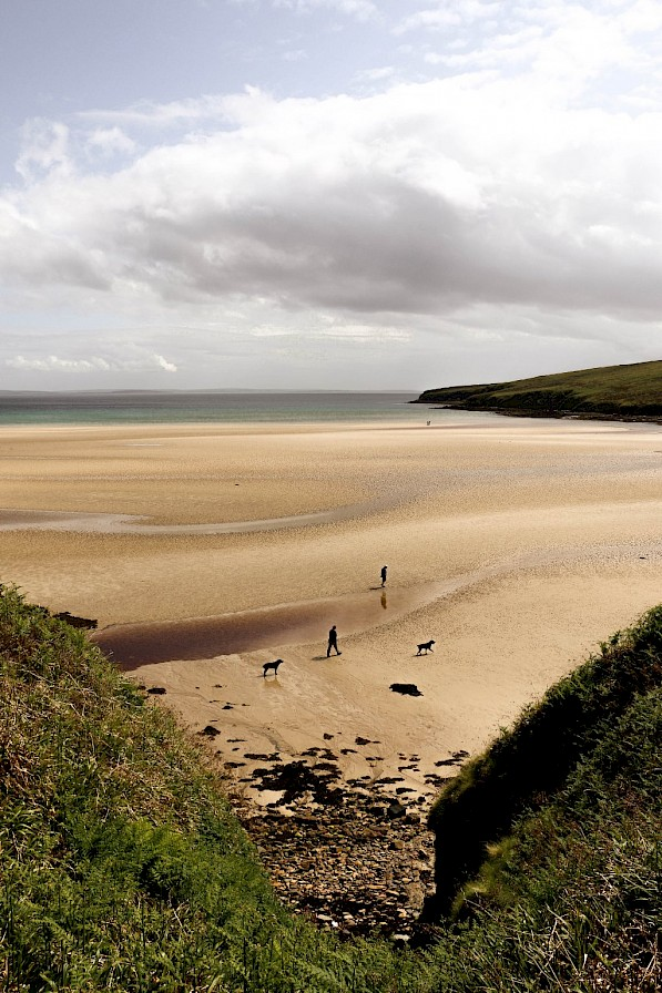 Summer strolls on the sand at Waulkmill - image by Fiona Annal